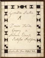 Geometria Practica A Domino Davide Gregory in Academia Edinensi Matheseos Professore. [01 of 16]