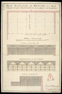 Plan elevation and sections of a shed : ordered to be built at Edinbo. Castle for the reception of 50 bread carts [1 of 1]