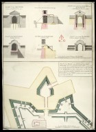 Plan of the front on the entrance to Fort William : representing the main gate way as proposed to be rebuilt with the wing walls sustaining the ground of the rampart on each side of the entrance; [1 of 1]