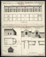 Plan of the ground story of the long pile of barracks at Fort-William, lately repaired : plan, elevation and section of the bakehouse built at Fort-William 1743 [1 of 1]