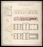 Plans, elevation & section of the powder magazine, magazines for provisions, baking houses, etc. : marked no.3 in the general plan [proposed Fort George on Oliver's Fort site, Inverness] [1746] [1 of 1]