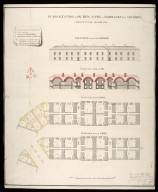 Plans, elevation & section of a pile of barracks for soldiers : marked no.6 in the generall plan [proposed Fort George on Oliver's Fort site, Inverness] [1746] [1 of 1]