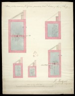Plans of 5 five cisterns of different dimentions [sic], with sections of their roofs : [Edinburgh Castle] [1 of 1]