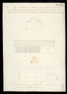 Plan front elevation and section of a shade proposed to be erected at Ayr and Aberdeen for the protection of four guns and four ammunition waggons [1 of 1]