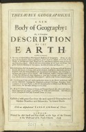 Thesaurus Geographicus, a new body of Geography, or, a compleat description of the Earth. [1 of 1]