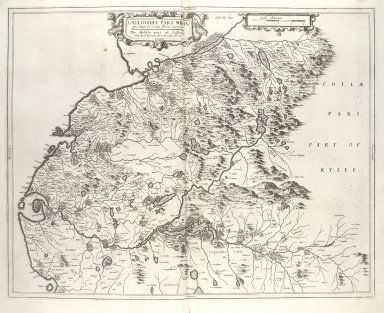 Gallovidiae Pars Media, quae Deam et Cream fluvios interjacet. The Middle-part of Galloway, whiche lyeth betweene the rivers Dee and Cree. [1 of 1]