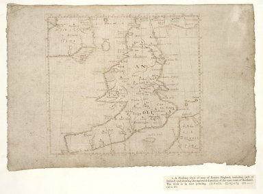 [A Ptolemy style map of Roman England, including part of Ireland, and showing the eastward direction of the east coast of Scotland] [1 of 1]