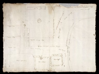 [Plan of Coldstream, from action of removing, Mark Kerr, Comendator of Coldstream, & Alexander Home of Hutounhall, and others, 1589] [1 of 2]