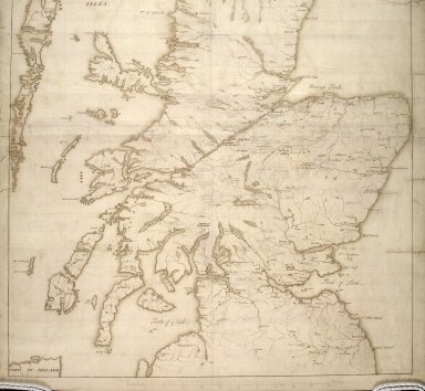 [Map of Scotland showing the Forts at Inverness, Fort Augustus, Fort William and Moidart and on which is pencilled proposed military roads also the names and numbers of men that could be raised by the various clans] [2 of 2]