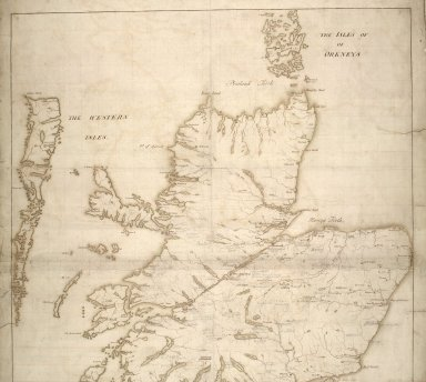 [Map of Scotland showing the Forts at Inverness, Fort Augustus, Fort William and Moidart and on which is pencilled proposed military roads also the names and numbers of men that could be raised by the various clans] [1 of 2]