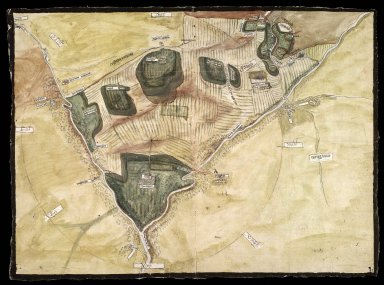 [Plan of Arniston (Harnstoune) and Shank (Schanck) with enlarged plan of Castleton on reverse, relative to action Dundas v. Elphinstoun, 1586] [1 of 2]