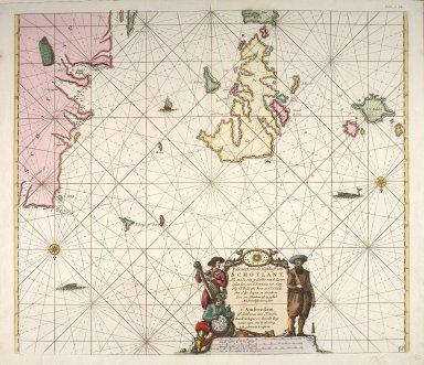 Pascaert vande westkust van Schotlant, als mede een gedeelte van de Lewys Eylanden, van S. Patricius tot Nary, Nog t'I. Roda ofte Barre en t'I. S. Kilda met al Syn diepten en droochten, dus ver naeukeurigh op gestelt [1 of 1]