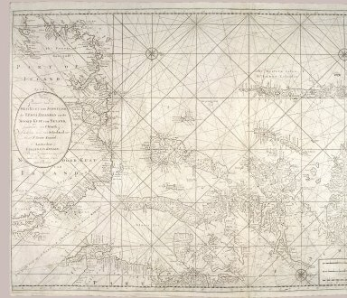 Nieuwe paskaart van de west kust van Schotlandt, de Lewys eylanden en de noord kust van Yrland : beginnende van C. Wrath of de Noordilykstc heck van Schotlandt tot in het St. Ioris Kanaal [1 of 2]