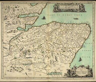Scotia Provinciae intra Flumen Taum, et Murra fyrth sitae, utpote Moravia, Badenocha, Atholia, Aberdonia, Baneia, et Mernis. [1 of 1]