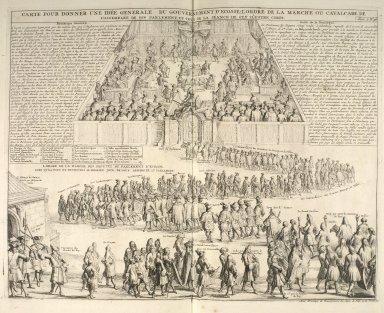 Carte pour donner une idée generale du gouvernement d'Ecosse l'ordre de la marche ou cavalcade de l'assemblée de son parlement; et celui de la séance de cet illustre corps [1 of 1]