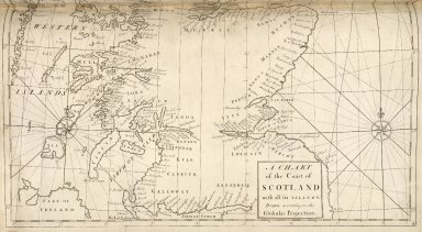 A chart of the Coast of Scotland with all its islands. Drawn according to the Globular Projection. [1 of 2]