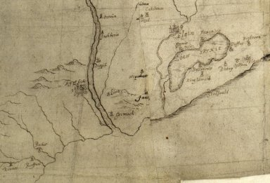 [Detail from a manuscript 17th century map by Robert Gordon, from Buckie to Duffus and including Spynie]. [1 of 1]