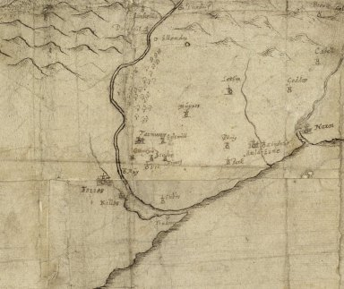 [Detail from a manuscript 17th century map by Robert Gordon, showing the area around Forres and including Culbin (Cubin)] [1 of 1]
