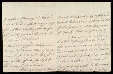 [Letter from the Countess of Roxburghe, London, to Sir William Bennet of Grubbet concerning the Broxmouth garden and its earlier survey by John Adair, 3 September 1719] [2 of 3]
