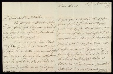 [Letter from the Countess of Roxburghe, London, to Sir William Bennet of Grubbet concerning the Broxmouth garden and its earlier survey by John Adair, 3 September 1719] [1 of 3]