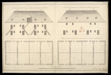 [Plan of soldiers' barracks Fort William] : The front of ye souldiers barracks as it appears to the rampart, Fort William, K ... [1 of 1]