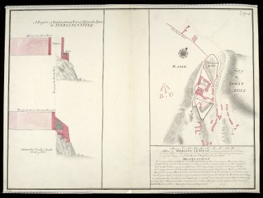 A Plan of Sterling [i.e. Stirling] Castle, as here color'd in red lines, and the black is a design for better fortifying the entrance of the same : A profile of Elphinstons Tower and French Spur at Sterling Castle [1 of 1]