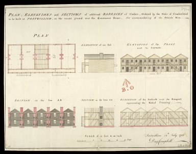 Plan, elevation and sections of additional barracks of timber : ordered by the Duke of Cumberland to be built at Fortwilliam [i.e. Fort William], on the vacant ground near the Governour's house, for accomodating of 160 private men [1 of 1]