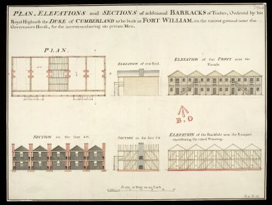 Plan, elevation and sections of additional barracks of timber : ordered by his Royal Highness the Duke of Cumberland to be built at Fort William, on the vacant ground near the Governours house, for the accomodateing 160 private men [copy] [1 of 1]