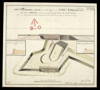 Plan, elevation and section of the South Bastion of Fort William : shewing the breach occasiond by the shooting of part of the scarp-wall [1 of 1]