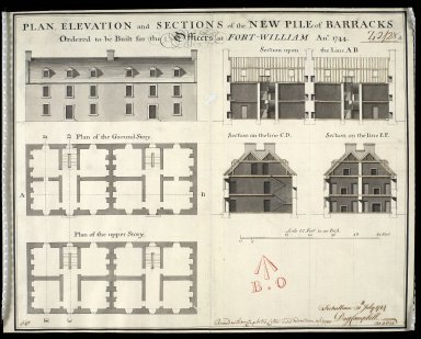 Plan, elevation and sections of the new pile of barracks : ordered to be built for the officers at Fort-William, Ano. 1744 [1 of 1]