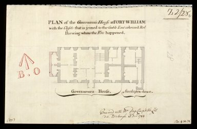 Plan of the Governour's house at Fort-William : with the closets that is joined to the gable end coloured red showing where the fire happened [1 of 1]