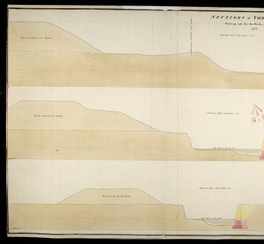 Sections of Fort George shewing how far the works are executed in 1750 : section thro' the line 1.2; section thro' the line 3.4; section thro' the line 5.6 [1 of 2]