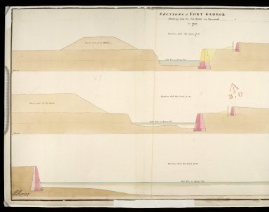 Sections of Fort George shewing how far the works are executed in 1750 : section thro' the line 7.8; section thro' the line 9.10; section thro' the line 11.12 [1 of 2]