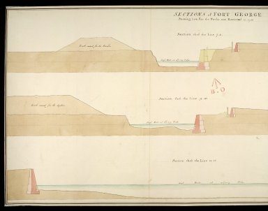 Sections of Fort George shewing how far the works are executed in 1750 : section thro' the line 7.8; section thro' the line 9.10; section thro' the line 11.12 [copy] [1 of 2]