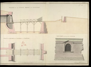 [Fort George, North Britain] 1752, No. 4 : section thro' the gateway, bridge, and coverd-way; plan of the bridge and gateway to the ravelin; elevation of the front of the gateway [2 of 2]