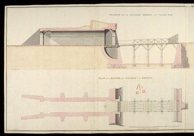 [Fort George, North Britain] 1752, No. 4 : section thro' the gateway, bridge, and coverd-way; plan of the bridge and gateway to the ravelin; elevation of the front of the gateway [1 of 2]