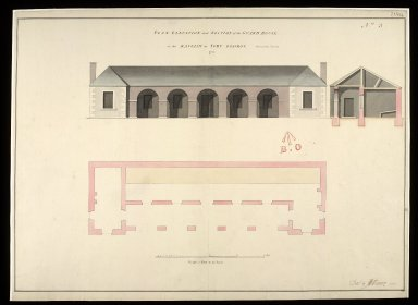 Plan, elevation and section of the guard house in the ravelin at Fort George, 1752, No.3 [1 of 1]