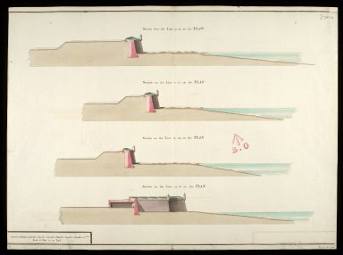 [Fort George, North Britain, 1752] [copy] : section thro' line 9.10 on the plan; section thro' line 11.12 on the plan; section thro' line 13.14 on the plan [1 of 1]