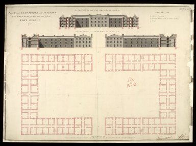 Plan and elevations with sections of the barracks for 1600 men and officers : Fort George 1753 [1 of 1]