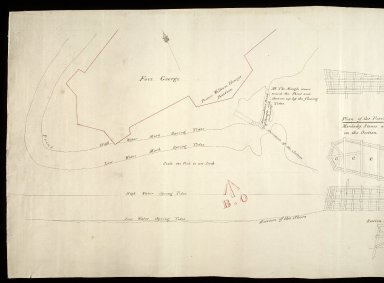 [Shore at Fort George showing tides]; Plan of the Pier [1 of 2]