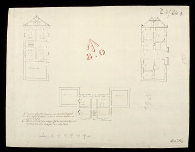 The section of one of the principals as now design'ed for Fort Augustus : apartments covered with a temporary roof, and heathered consisting in all with the 2 stories above thirty four rooms besides vaults [1 of 1]