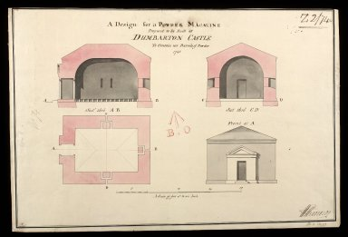 A Design for powder magazine proposed to be built at at Dumbarton : to contain 150 barrels of powder; 1748 [1 of 1]