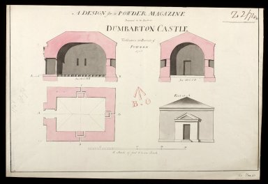 A Design for powder magazine proposed to be built at Dumbarton to contain 150 barrels of powder [1 of 1]