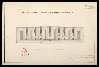 Plan of one of the rooffs of the double buildings next the Parade [proposed Fort George on Oliver's Fort site, Inverness] [1746] [1 of 1]