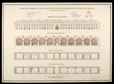 Plans, elevation & section of the officers & soldiers guard rooms, breweree, stables &c. : marked nos. 7 & 8 on ye general plan [proposed Fort George on Oliver's Fort site, Inverness] [1746] [1 of 1]