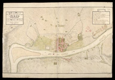 An Exact plan of the town and adjacent parts of Perth : as it was fortified and possessed by the rebells in Scotland, till they were driven thence by the victorious arm of King George, Anno 1715/6 [1 of 1]
