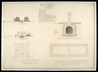 Plan section and elevation of the barracks at Killiwhimen [i.e. Kiliwhimen] : with a particular plan and section of the cistern [1 of 1]