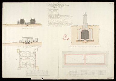 Plan, section and elevation of the barracks at Killiwhimen [i.e. Kiliwhimen] : with a particular plan and section of the cistern [1723] [copy] [1 of 1]