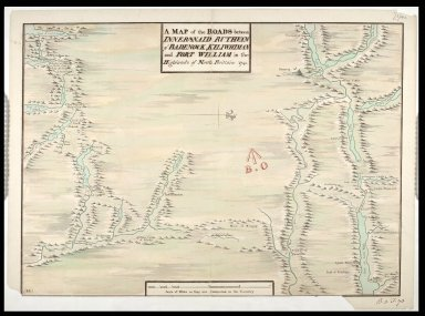 A Map of the Roads between Innersnaid Ruthvan of Badenock, Kiliwhiman and Fort William in the Highlands of North Brittain [1718] 1741 [copy] [1 of 1]