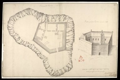 Plann of Castle Tyrholme [i.e. Tioram] : profile of Castle Tyrholme upon the line CAB [1 of 1]